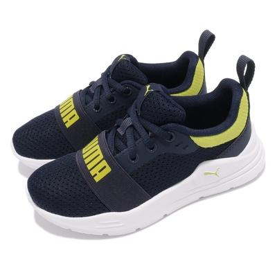 Puma 慢跑鞋 Wired Run 運動休閒 童鞋 路跑 緩震 輕量 透氣 球鞋穿搭 中童 藍 白 37421607