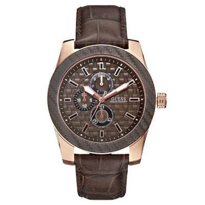 GUESS 蝕刻魅力都會三眼腕錶-咖啡-W0035G1-44mm
