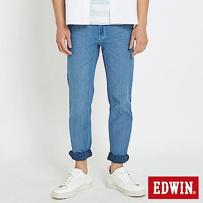EDWIN JERSEYS 迦績涼感 藍袋花窄直筒牛仔褲-男-石洗藍