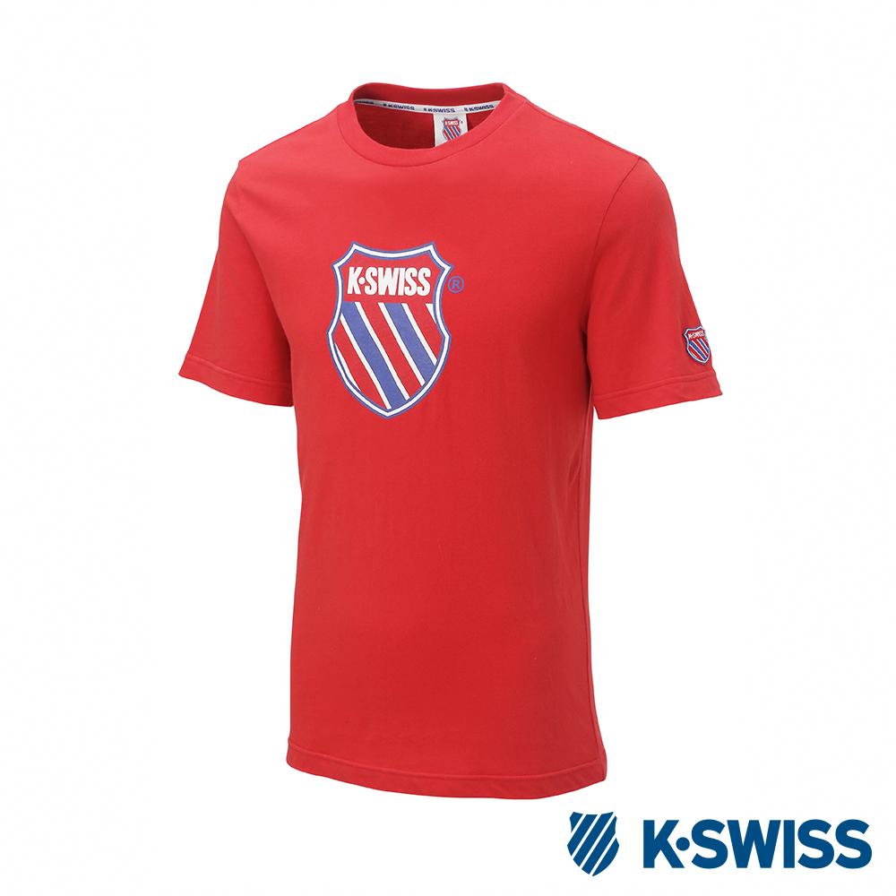 K-SWISS Heritage T-Shirt印花短袖T恤-男女-紅