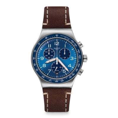 Swatch 金屬系列手錶 CASUAL BLUE一抹湛藍-43mm