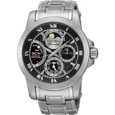 SEIKO 精工 Premier 互動式人動電能鋼帶腕錶-黑(SRX013J1)