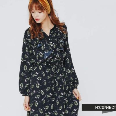 H:CONNECT 韓國品牌 女裝 - 碎花雪紡膝上小洋裝 - 藍 (快)