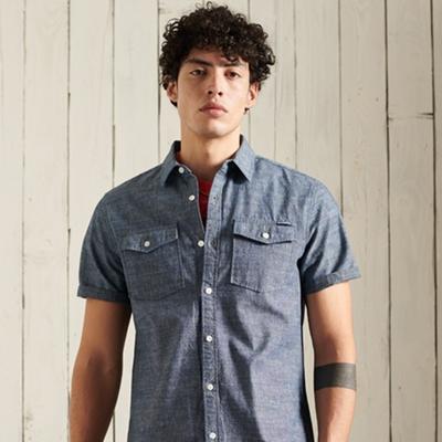 SUPERDRY 男裝 短袖襯衫 DENIM LOOM 深藍