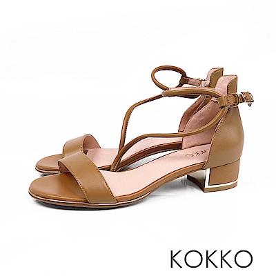 KOKKO - 東大門一字細帶真皮粗跟涼鞋 - 奶茶