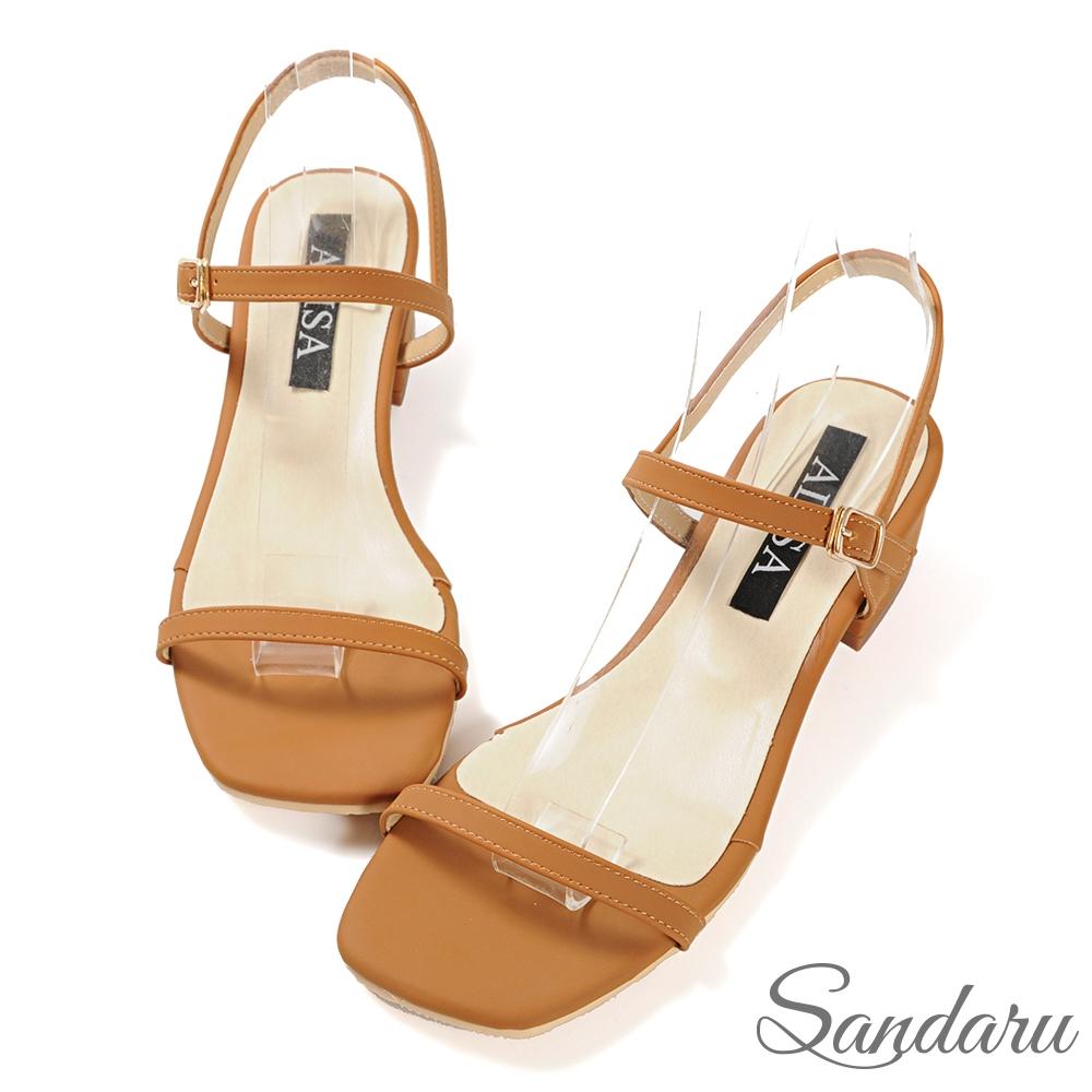 山打努SANDARU-涼鞋 簡約一字帶側釦方頭低跟涼鞋-棕