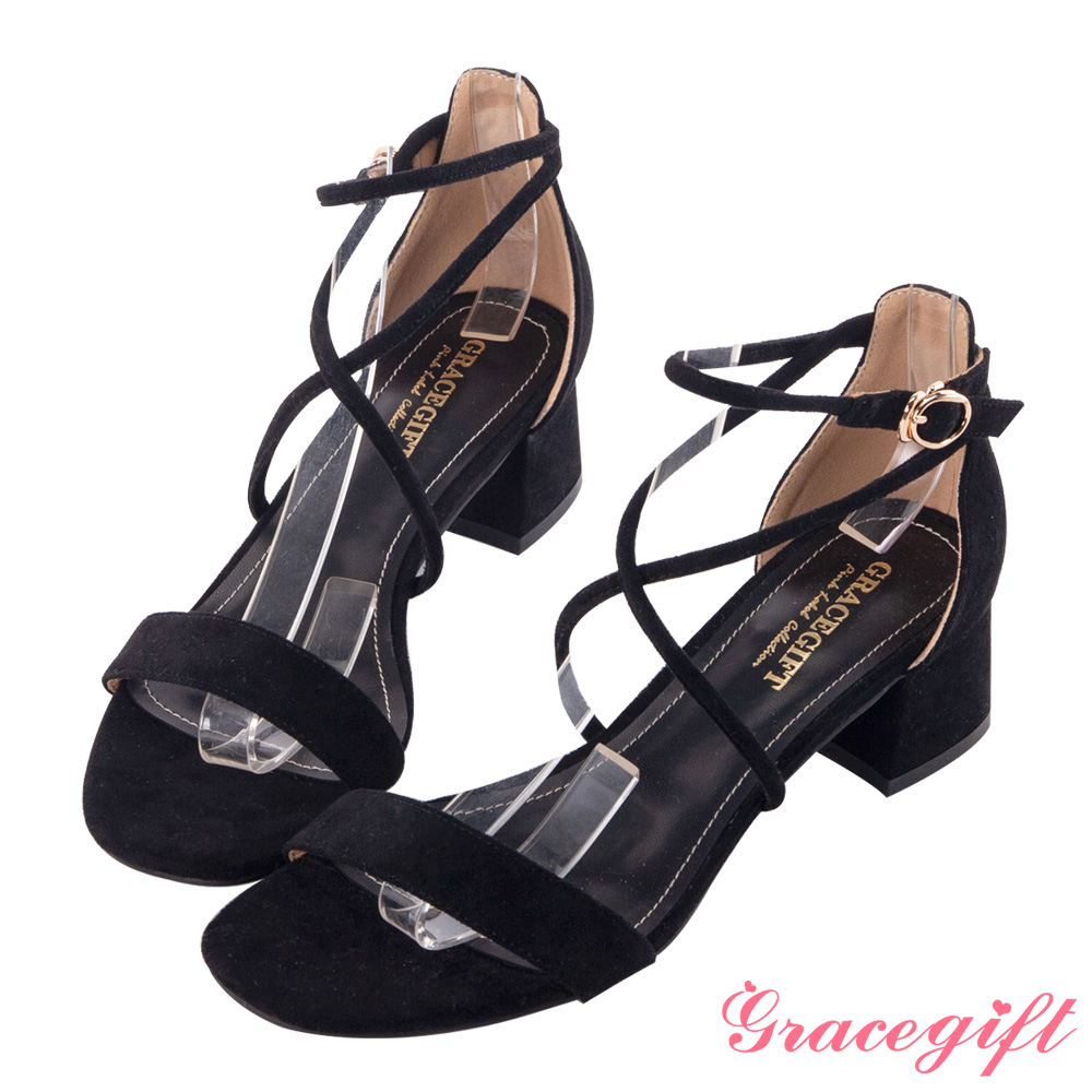 Grace gift-絨布交叉中跟涼鞋 黑