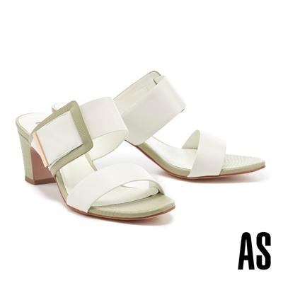 拖鞋 AS 時髦撞色寬版一字帶全羊皮高跟拖鞋-白