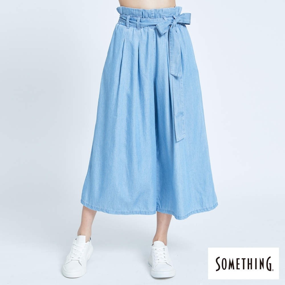 SOMETHING 束袋型鬆緊帶闊腿褲-女-漂淺藍