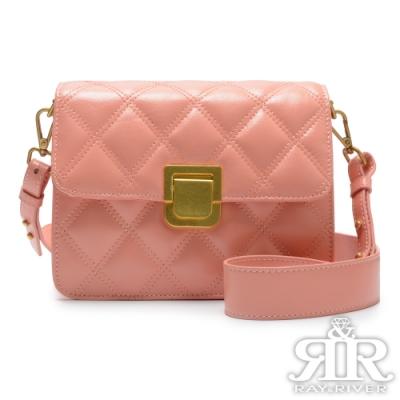 2R Shanti香堤牛皮菱格斜背金釦包 甜美粉