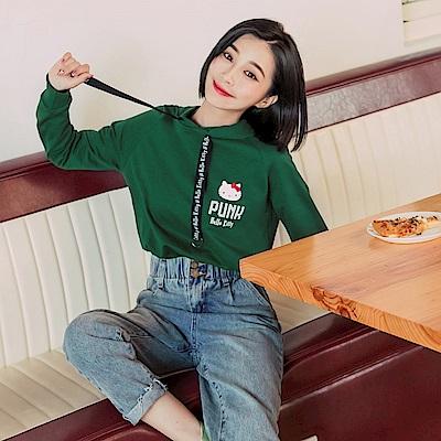 KITTY搖滾系列~純棉個性金屬釦抽繩連帽上衣-OB嚴選