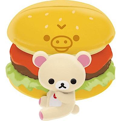 拉拉熊洋食漢堡店系列文具收納盒玩。懶妹漢堡。便條夾San-X