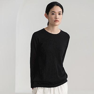 旅途原品_歡顏_原創設計美麗諾多色顯瘦圓領毛衣-黑/淺藍/淺粉