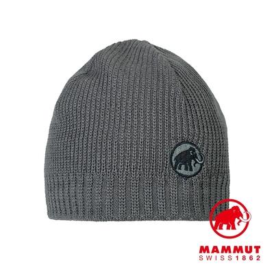【Mammut】Sublime Beanie 刺繡LOGO保暖羊毛帽 鈦金灰 #1191-01542
