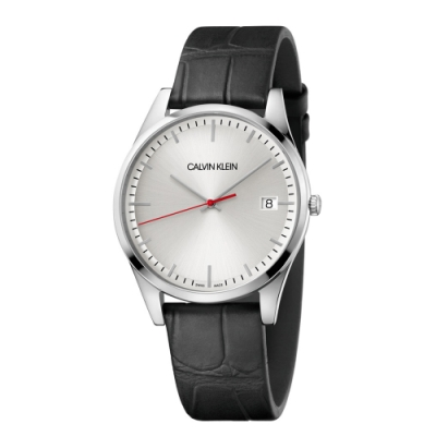 CALVIN KLEIN time 時光系列商務腕錶-皮帶銀面/ 40mm