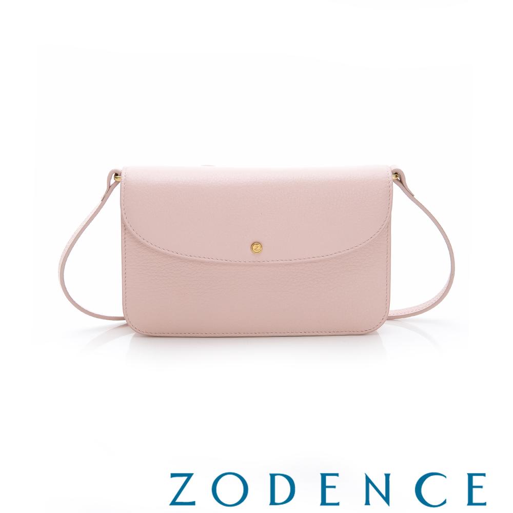 ZODENCE ERATO系列進口彩色牛皮圓蓋皮夾包(小)粉紅