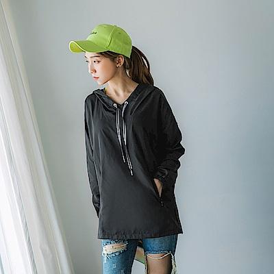 防潑水吸濕排汗機能雙口袋韓系抽繩連帽運動上衣-OB大尺碼