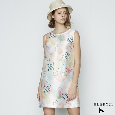 【GLORY21】粉彩拓印塊點圖繪無袖洋裝-白色
