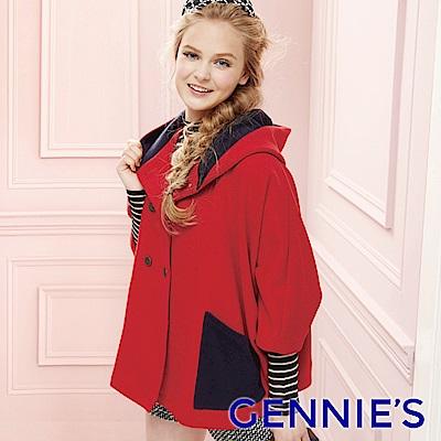 Gennies專櫃-時尚七分袖斗篷連帽外套(紅)H6808