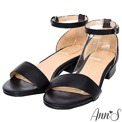 Ann'S不踩雷美腿製造機一字帶涼鞋-寬帶2公分平底-黑