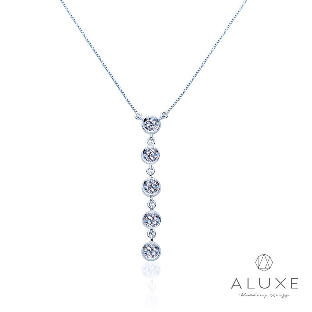 ALUXE亞立詩 總重0.16克拉 18K金閃耀垂墜鑽石項鍊