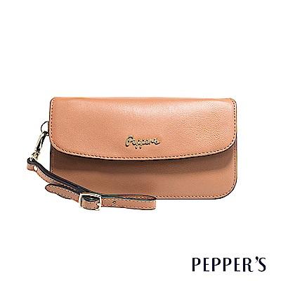 PEPPER`S Sophia 羊皮掀蓋手拿包 - 奶茶棕