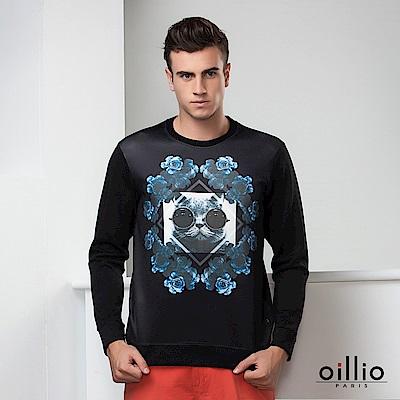 歐洲貴族oillio 長袖T恤 戴墨鏡的貓 精緻花朵印花 黑色