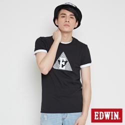 EDWIN 三角漩渦幾何圖印花短袖T恤-男-黑色