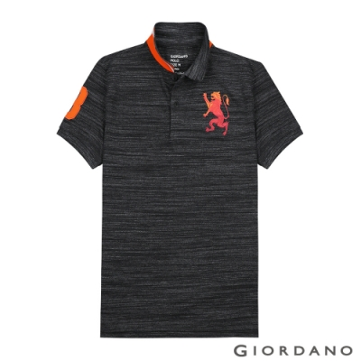 GIORDANO 男裝勝利獅王漸層刺繡彈力萊卡POLO衫-40 花紗黑色