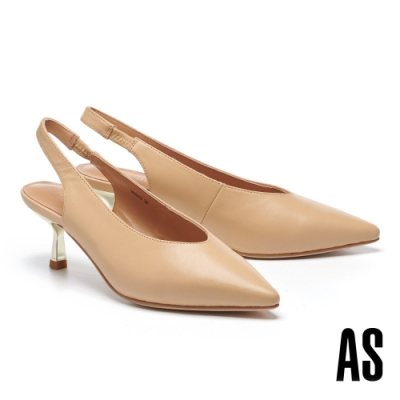 高跟鞋 AS 極簡都會時尚全羊皮後繫帶尖頭高跟鞋-米