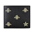GUCCI燙金LOGO蜜蜂與星星設計牛皮8卡對折短夾(黑)