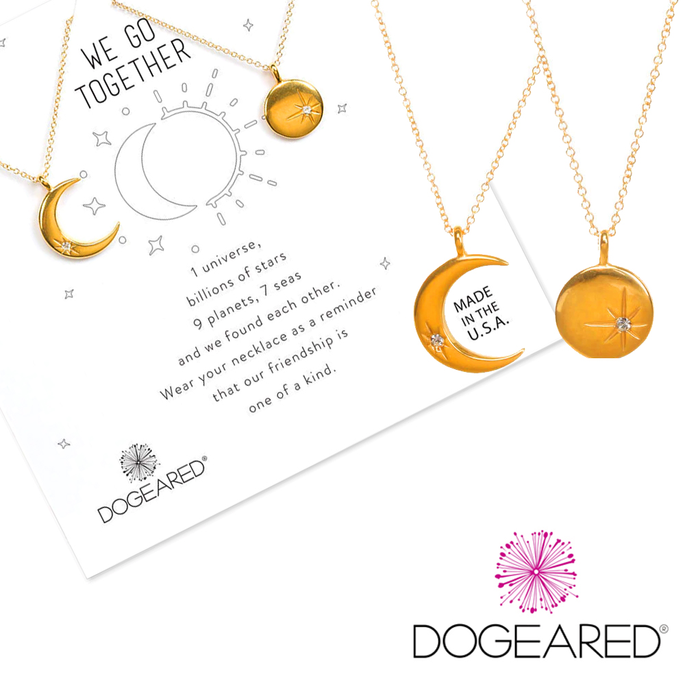 Dogeared 太陽項鍊X月亮項鍊 金色鑲鑽項鍊套組 天生一對 附禮物盒