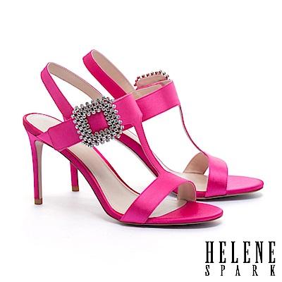 涼鞋 HELENE SPARK 優雅迷人璀璨晶鑽方釦繫帶高跟涼鞋-桃紅