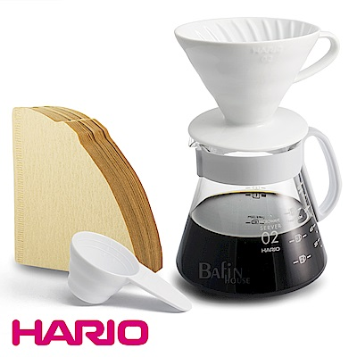 HARIO 4人份 V60陶瓷濾杯 濾紙 咖啡壺組 XVDD-3012W