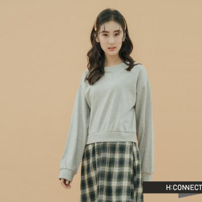 H:CONNECT 韓國品牌 女裝 - 拼接格紋排釦長洋裝 - 灰