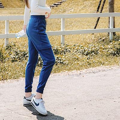 台灣製造~吸濕排汗抗UV大口袋拼接彈性運動褲-OB大尺碼