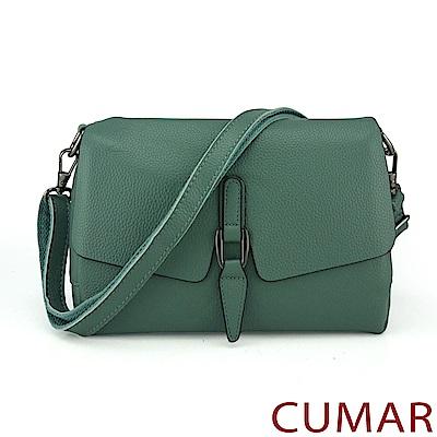 CUMAR 荔枝紋牛皮曲線飾釦斜背包-綠