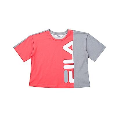 FILA KIDS 童吸濕排汗針織上衣-玫紅 5TET-4444-LP