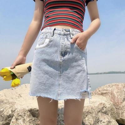 韓版時尚淺色丹寧刷破抽鬚A字短裙S-XL-WHATDAY