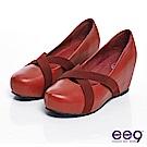 ee9 清新學院~真皮純色鬆緊帶內增高楔型鞋~俏麗紅