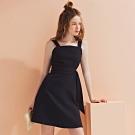 AIR SPACE LADY 氣質方領寬帶短洋裝(黑)