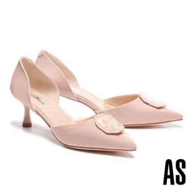 高跟鞋 AS 優雅時尚不規則飾釦全真皮尖頭高跟鞋-粉