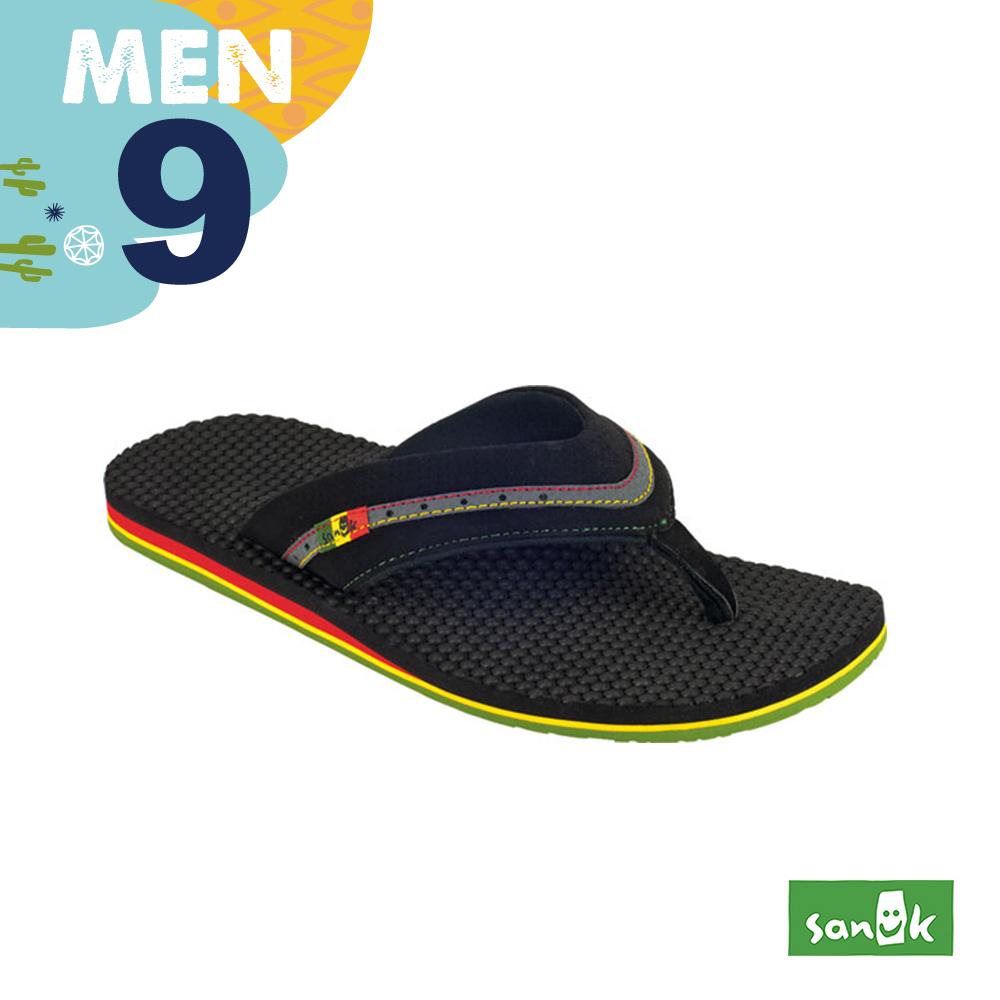 SANUK 男款US9 微笑混彩寬帶人字拖鞋(黑色)