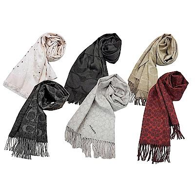 COACH 人氣熱銷經典LOGO圍巾羊毛混絲均一價$2599