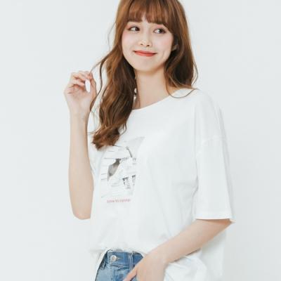 H:CONNECT 韓國品牌 女裝-標語圖印棉質T-shirt-白