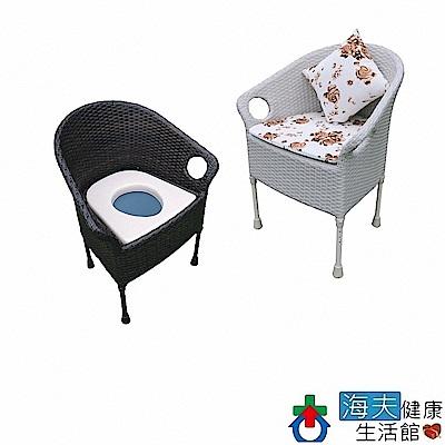 海夫健康生活館 鋁藤製 固定式 兩用 便盆椅 藤愛椅(JI8510)