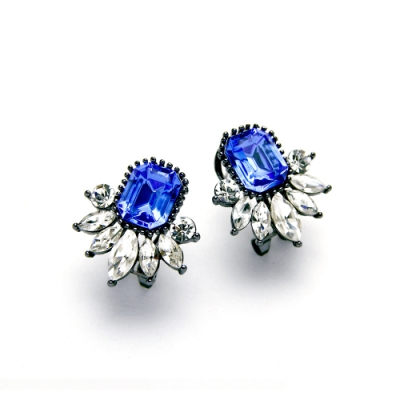 STORY故事銀飾-氣質時尚耳環-Dazzling晶鋯耳環(寶藍)