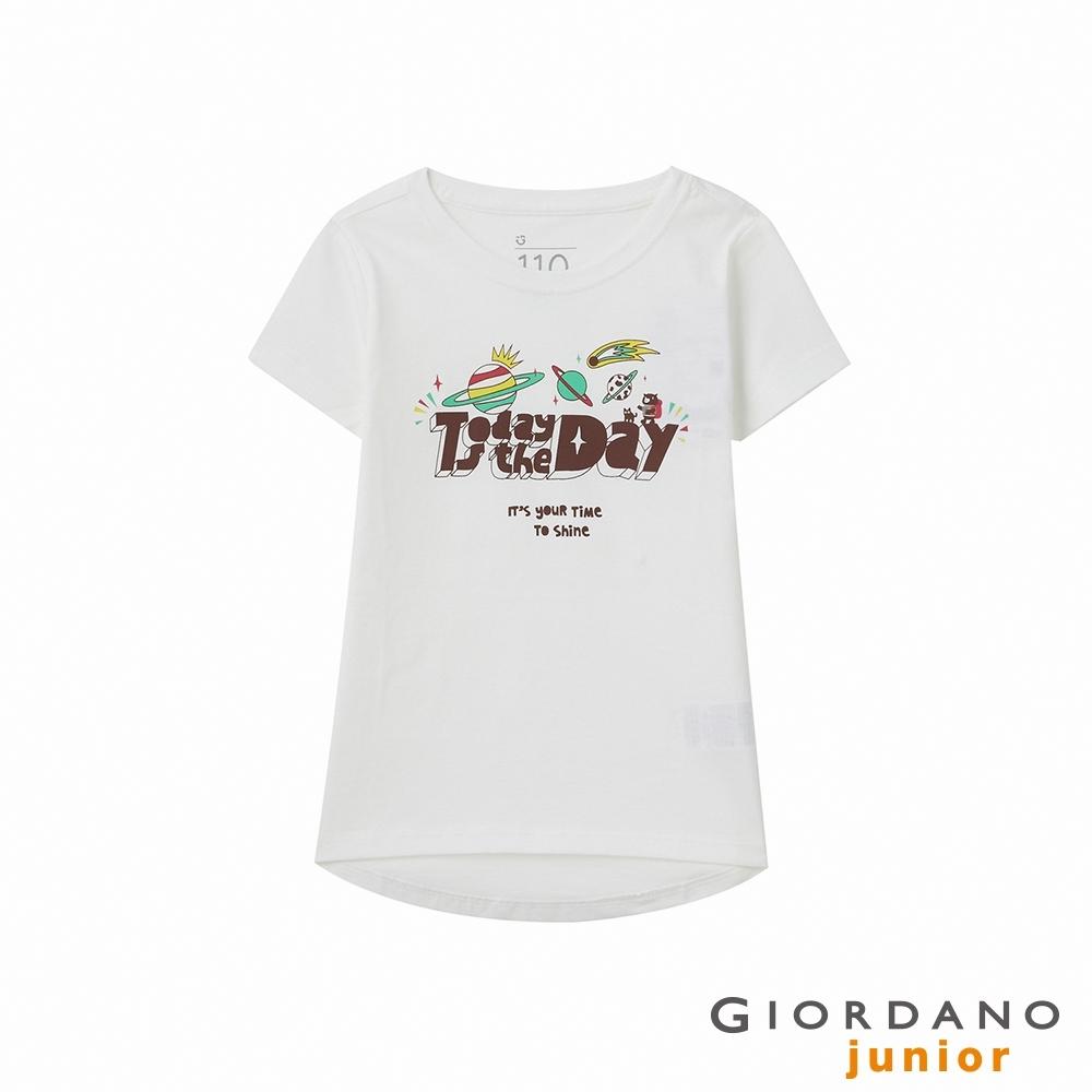 GIORDANO 童裝SHINE圓襬印花T恤 - 01 皎白