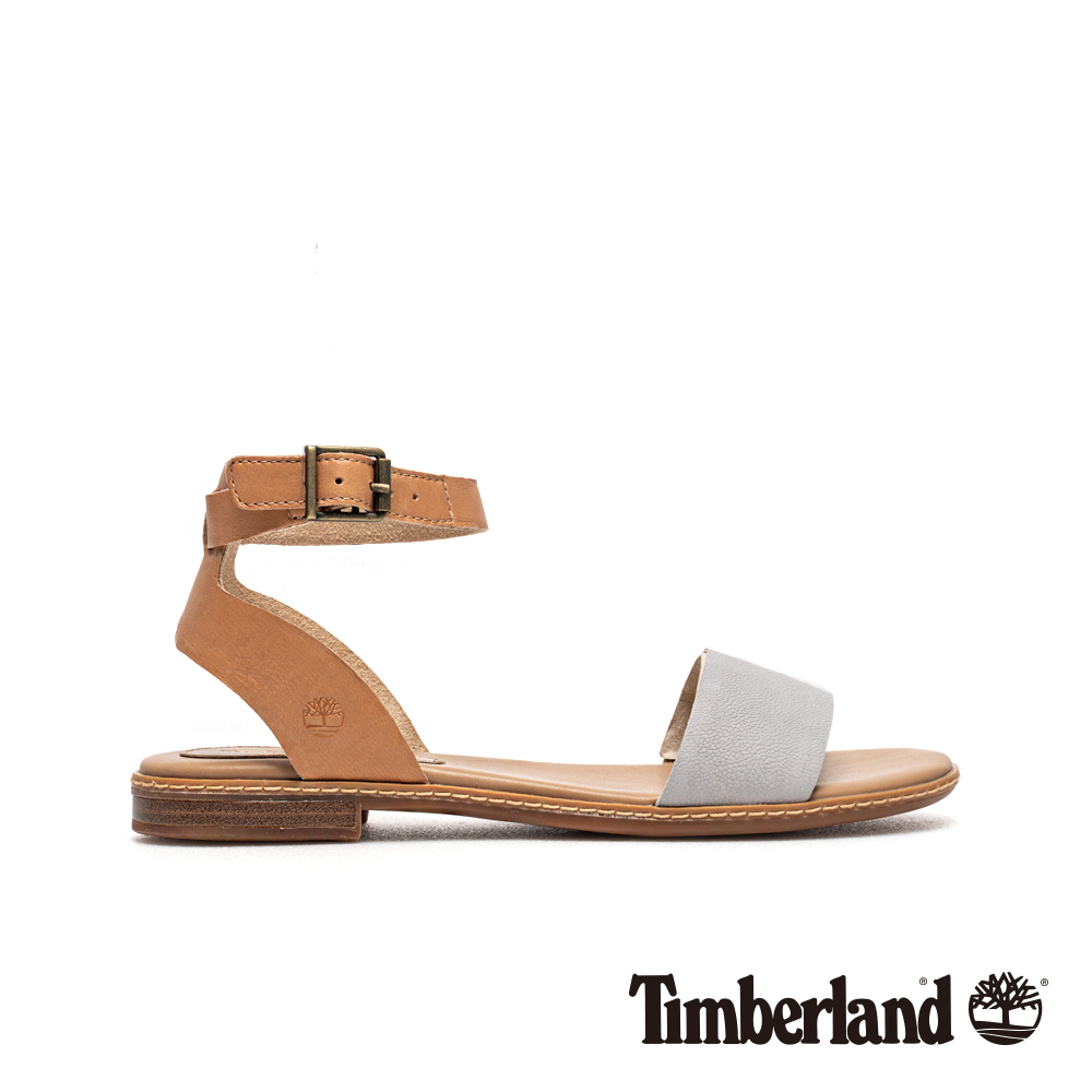 Timberland 女款棕色撞色一字繫帶涼鞋|A1WY3