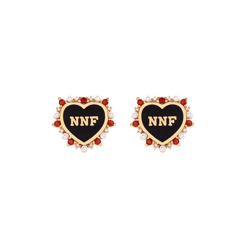 NOONOO FINGERS 黑愛心 耳環/耳夾